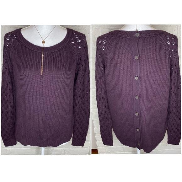 Loft Wine Crochet Sleeves Button Back Sweater M